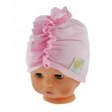 Czapka turban bawełniana 38-42  różowa